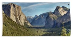 Yosemite Falls Beach Towel by Walter Colvin