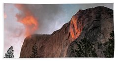 Yosemite, Horsetail Falls, Cloudy Sunset Beach Towel