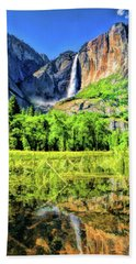 Beach Towel featuring the painting Yosemite National Park Bridalveil Fall by Christopher Arndt