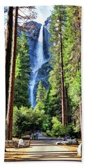 Beach Towel featuring the painting Yosemite National Park Bridalveil Fall Trees by Christopher Arndt