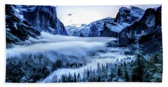 Beach Towel featuring the painting Yosemite National Park Tunnel View Snowy Morning by Christopher Arndt