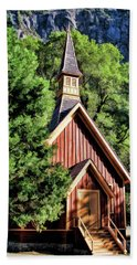 Beach Towel featuring the painting Yosemite National Park Valley Chapel by Christopher Arndt