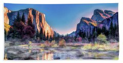 Beach Towel featuring the painting Yosemite National Park Valley by Christopher Arndt