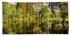 Yosemite Reflections On The Merced River Beach Sheet