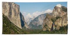 Yosemite Tunnel View With Bridalveil Rainbow By Michael Tidwell Beach Sheet