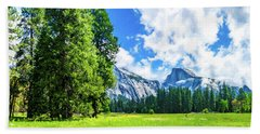 Yosemite Valley And Half Dome Digital Painting Beach Towel