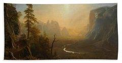 Yosemite Valley Glacier Point Trail Beach Sheet by Albert Bierstadt