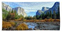 Yosemite Valley View Beach Towel