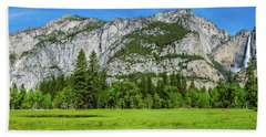 Yosemite West Valley Meadow Panorama #2 Beach Towel