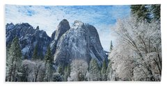 Yosemite Winter Fantasy Beach Sheet