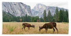 Yosemite's Half Dome And Two Deer Beach Towel