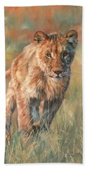 Beach Sheet featuring the painting Youn Lion by David Stribbling