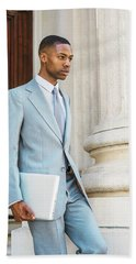 Young African American Businessman Working In New York Beach Towel