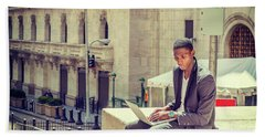 Young African American Man Working On Wall Street In New York Beach Sheet