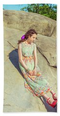 Young American Woman Summer Fashion In New York Beach Towel