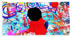 Young And Cool Graffiti Artist In Paris  Beach Towel