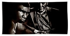 Young Boxer And Soon To Be World Champion Mike Tyson And Trainer Cus Damato Beach Towel