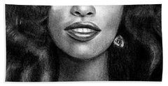 Young Chaka Khan - Charcoal Art Drawing Beach Towel