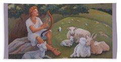 Young David As A Shepherd Beach Towel