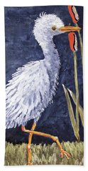 Young Egret Takes A Walk Beach Towel