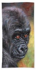 Young Gorilla Portrait Beach Towel