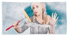 Young Housewife Cleaning Glass Shower Door With White Soap Suds  Beach Towel
