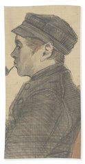 Young Man With A Pipe Nuenen, March 1884 Vincent Van Gogh 1853 - 1890 Beach Towel