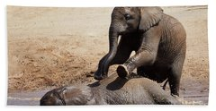 Young Playful African Elephants Beach Towel