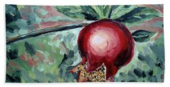 Beach Towel featuring the painting Young Pomegranate by Maria Langgle