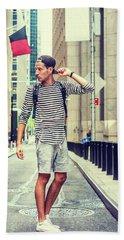 Young Russian Man Traveling In New York Beach Sheet