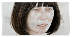 Beach Towel featuring the mixed media Young Vietnamese Woman by Jim Fitzpatrick