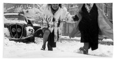Young Woman Running In The Snow In Paris, 1946  Beach Towel