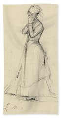 Young Woman With A Broom Beach Towel