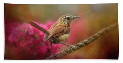 Young Wren In The Garden Beach Towel