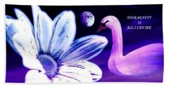 Your Beauty With Swan Moon And White Flower Beach Sheet by Annie Zeno