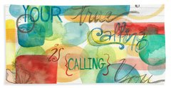 Beach Sheet featuring the painting Your True Calling by Erin Fickert-Rowland