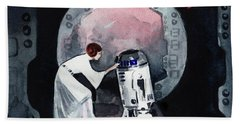 You're My Only Hope Princess Leia And R2d2 Beach Towel