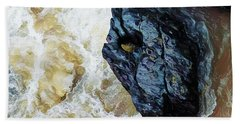 Yuba Blue Boulder In Stormy Waters Beach Towel