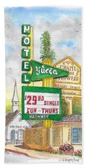 Yucca Motel And Little Chapel Of The Flowers, Las Vegas, Nevada Beach Sheet by Carlos G Groppa