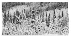 Beach Towel featuring the photograph Yukon Snow Scene Black And White Contrast by Phyllis Spoor