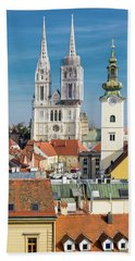 Zagreb Cathedral And St. Mary's Church Beach Sheet by Steven Richman