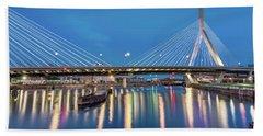 Zakim Bridge And Charles River At Dawn Beach Sheet