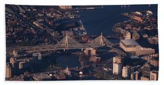 Beach Towel featuring the photograph Zakim Bridge In Context by Rona Black