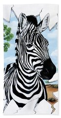 Beach Towel featuring the painting Zany Zebra by Teresa Wing