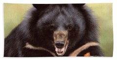Zebedee Moon Bear - In Support Of Animals Asia Beach Towel by Rachel Stribbling