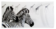 Zebra And Giraffe Beach Towel