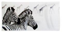 Zebra And Giraffe Beach Towel