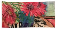 Zebra And Red Sunflowers  Beach Towel