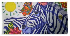 Beach Towel featuring the painting Zebra And Things by Alison Caltrider