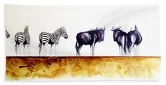 Zebra And Wildebeest Beach Towel